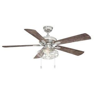Home Decorators 52 Inch Ceiling Fan Ellard LED Light Kit Brushed Nickel YG629A-B