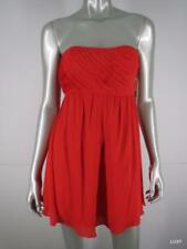 NWD $396 ALICE OLIVIA Dress Red Orange Silk Strapless Pleated Fit Flare 4 S NWT