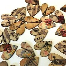 10 x 25mm x 28mm wood heart buttons with Paris and London theme, two holes