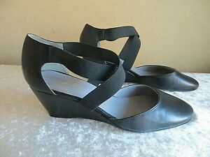 JOHN LEWIS WOMAN BLACK CROSSOVER WEDGE LEATHER  SHOES SIZE 5 /38