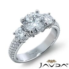 2.71ct 3 Stone Sidestone Pave Round Diamond Engagement Ring Gia E-Si1 White Gold