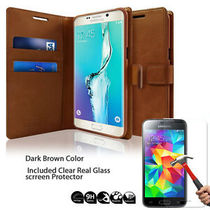 Diary Kickstand Slim Flip Leather Wallet Case Cover for iPhone 7/Galaxy/LG+Glass