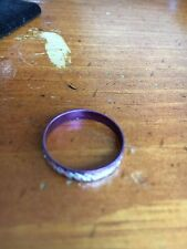 Purple aluminium with silver etching Ring  Size 8