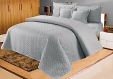 Cotton Sateen Embossed Bedspread With 2 Pillowshams & 2 Cushion Shams Grey
