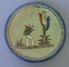 "Vintage Mexican green Tlaquepaque tourist pottery plate  6 5/8"" diam."