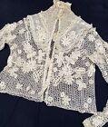 Victorian IRISH CROCHET LACE Antique 1890's Blouse Top Cropped Jacket Vintage