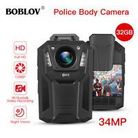 BOBLOV 1296P Body Worn Camera 32GB Memory IR Portable Video Recorder for Guard