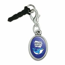 Brain Fart Dolphin Funny Humor Mobile Cell Phone Headphone Jack Oval Charm