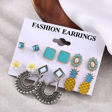Flower Hollow out Drop Ear Stud Bohemian Vintage Jewelry Pineapple Earring Set
