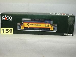 KATO HO SCALE #37-115 CHESSIE SYSTEM EMD NW2 DIESEL LOCOMOTIVE, READY TO RUN LN