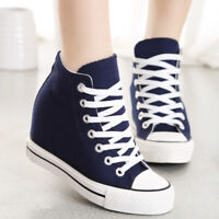 Hidden Wedge Heel High Top Canvas Sneakers Women Lace Up Athletic Sports Shoes