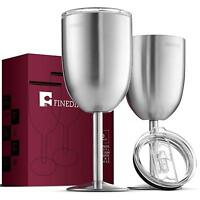 Premium Grade Stainless Steel Wine Glasses With Lids Double-Walled (12 Oz)