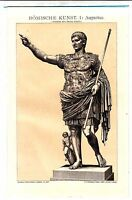 1894 ANCIENT ROME AUGUSTUS STATUE OLD ROMAN ART Antique Sepia Lithograph Print