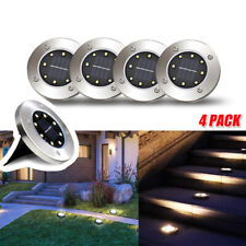 4x 8LED Solar Disk Lights Ground Buried Garden Lawn Deck Path Outdoor Waterproof