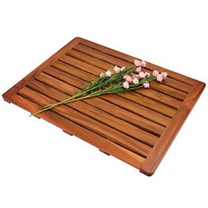"""Utoplike Teak Wood Bath Mat, Shower Mat Non Slip for Bathroom, 24""""x18"""", Wooden"""