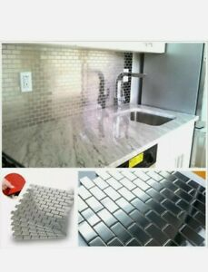 5-Piece Stainless Steel Sheet Surface Peel & Stick Mosaic Tile Subway Home Decor