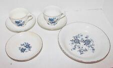 Wedgwood Enoch Royal Blue Ironstone (Tunstall)Ltd 2 Cups 3 Saucers Salad Bowl