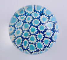 Fratelli Toso Millefiori MURANO ART GLASS Paperweight, Blue, TOSO Label, c1970