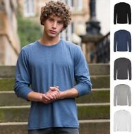 AWDis Mens LONG SLEEVE Tri-Blend T-SHIRT- Soft Touch - Modern Fit - Many Colours