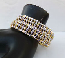 Simulated Cubic Diamond Bangles Ethnic Indian Wedding Party Golden Bracelet Set