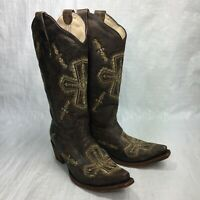 Circle G J5178 Brown Leather Embroidered Pull On Western Cowboy Womens Boots Sz