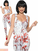 Ladies Fever Zombie Bodysuit Catsuit White Blood Stained Halloween Fancy Dress