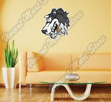 "Gray Wolf Head Angry Cartoon Funny Gift Wall Sticker Room Interior Decor 20""X25"""