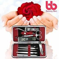 10 Pcs Manicure/Pedicure Set Nail Clippers Cleaner Cuticle Grooming Kit Case