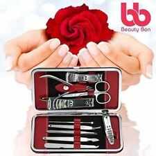 Men Women 10 Pcs Manicure/Pedicure Set Nail Clippers Travel Grooming Kit Case