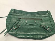Beautiful Authentic Balenciaga 2003 Emerald Green Make-up Clutch, New
