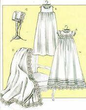 Infants Christening Baptismal Dress Slip Bonnet Blanket Sew Pattern NB-XL