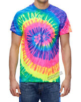 Mens Electric Neon Spiral Rainbow Tie Dye Tee Tye Die T-Shirt S, M, L, XL NEW