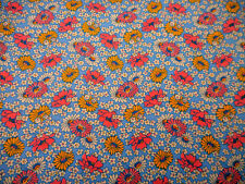1930s Reproduction Fabric By The Yard Pink Yellow White Floral Blue Quilt Cotton
