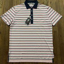 RLX Ralph Lauren Pink White Striped Mesh Polo, Size Large