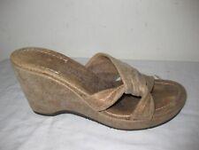 DONALD J. PLINER VIVI Gold Leather Distressed Slide Wedge Sandals Shoes Sz 6.5M