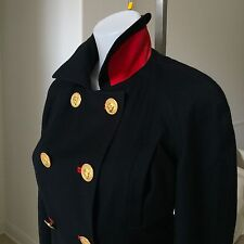 VERSUS by Gianni Versace navy blue virgin wool suede jacket size 8 from 1993