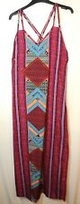 PINK RED BLUE LADIES CASUAL LONG MAXI DRESS SIZE 10 BOOHOO BLACK GEOMETRIC