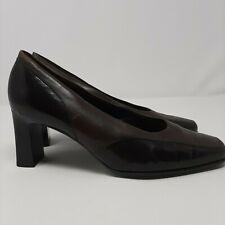 Ladies Square Toe Court Shoes UK 5 Brown Leather Sculpt Heel Slip On Dress Work