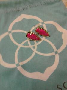 Kendra Scott Skylette Magenta Hot Pink Arrow Stud Gold Earrings Rare HTF