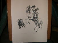 JOHN FULTON, LISTED, western Bullfighter, PENCIL SIGNED TITLED lithograph PRINT