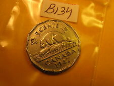 RARE KEYDATE 1947 DOT VARIETY CANADA 5 CENT COIN ID#B134