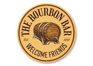 The Bourbon Bar Welcome Sign, Bourbon Sign, Home Bar Aluminum Sign
