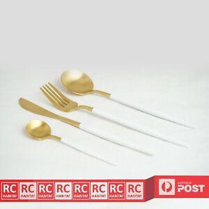 4Pcs Luxury Stainless Steel Cutlery Set Knife Spoon Fork & Teaspoons Gold AU