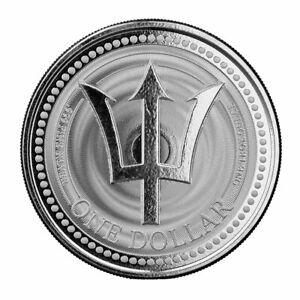 2021 Barbados Trident 1 oz Silver $1 Coin GEM BU PRESALE