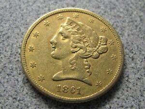 1861 $5 Gold Liberty Head NICE