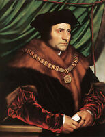 Nice Oil painting Holbein Hans - Male Portrait Sir Thomas More by table canvas