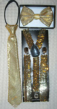 Teens Young Adults Gold Sequin Bow Tie,NeckTie & Y-back Suspenders Combo-New