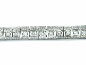 "Fine Round Cut Diamond Milgrain White Gold Tennis Bracelet 1.80Ct 7.25"""