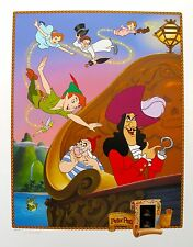 DISNEY PETER PAN Lithograph with Original Film Cels 35mm Frame Cells