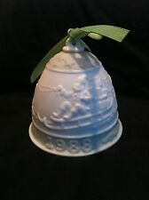 Vintage Lladro 1988 Bisque Porcelain Christmas Bell Ornament Embossed Green
